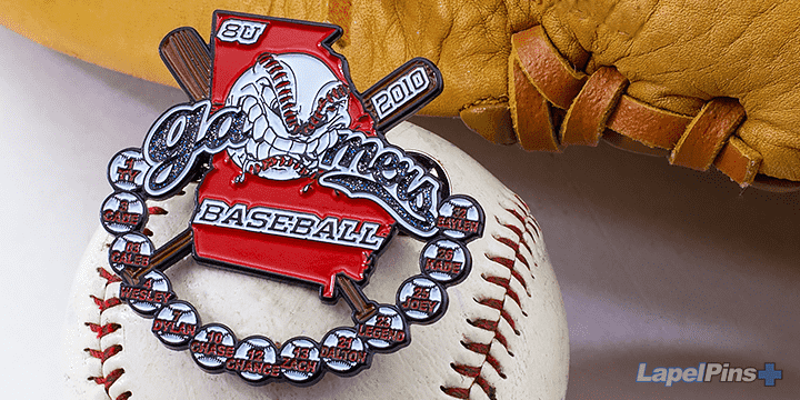 Gamers Baseball trading pins with cutouts