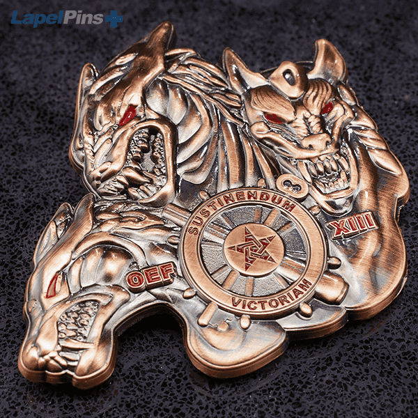 3D dragon challenge coin - square