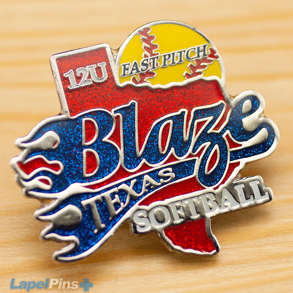 Blaze Trading Pin with Glitter and Epoxy