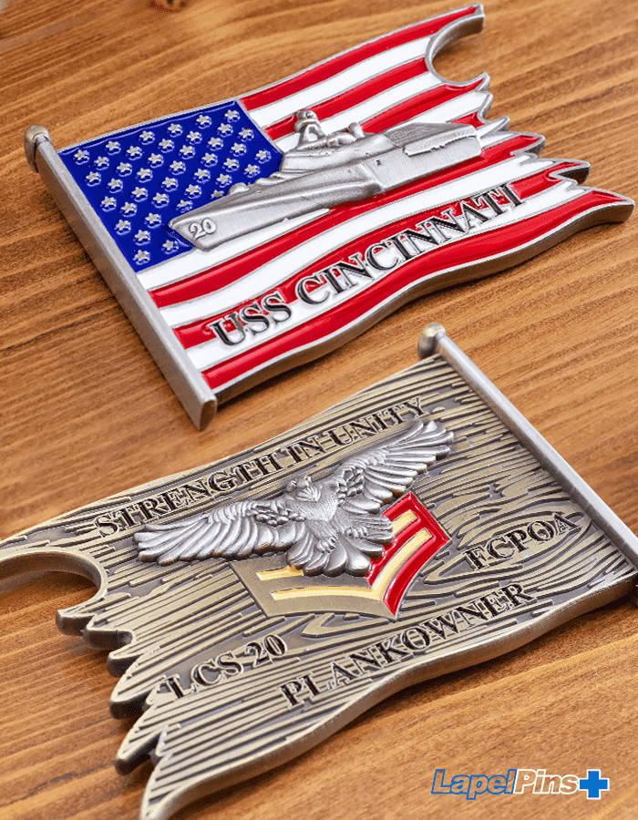 USS Cincinnati challenge coin - vertical