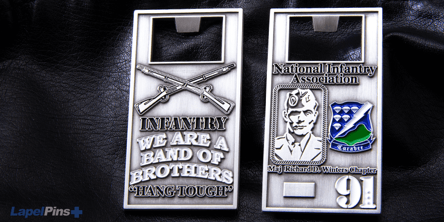 National Infantry Bottle Opener Challenge Coin Lapel Pins Plus