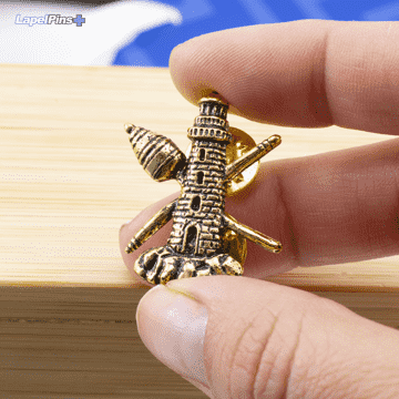 3D Antique Gold Tower Lighthouse